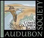 our logo with a curlew flying over the Columbia River and shrub steppe